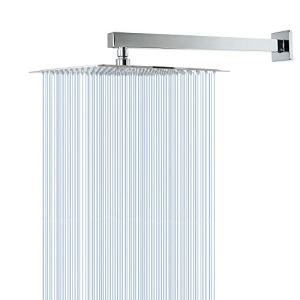 Rain Shower Head with Extension Arm, HarJue 12 Inch Square Shower Head with 16 Inch Shower Arm, Large Stainless Steel Rainfall Showerhead-Waterfall Full Body Coverage-Easy to Install with Teflon Tape