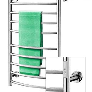 Towel Warmer | Built-in Timer with Led Indicators | 3 Timer Modes: ON/Off, 2 H, 4 H | Wall Mounted | 10 Curved Bars | High Polish Chrome Stainless Steel |