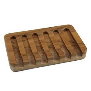 HTB Teak Soap Dishes with Waterfall Design, Wood Soap Holder, Soap Tray for Bathroom, Kitchen, Sinks and Counter Top
