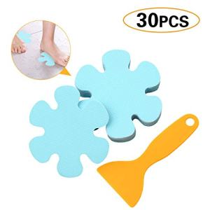 Jassmine 30 Pcs Non-Slip Treads,4x4 Inch,Adhesive Decals,Anti-Slip Stickers,Ideal Appliques Tape for Baby,Senior,Adult.Suit for Bath Tub,Stairs,Shower Room & Other Slippery Surfaces (Snowflake Blue)