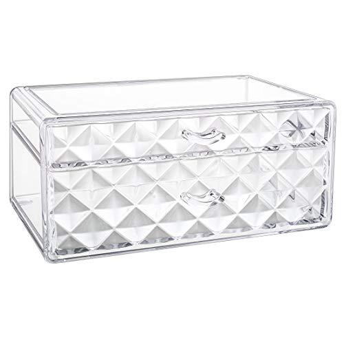Luxspire Acrylic Makeup Organizer, 2 Drawers Cosmetic Storage Organizer, Clear Diamond Cosmetic Display Case, Jewelry Storage Box Make up Holder - Clear