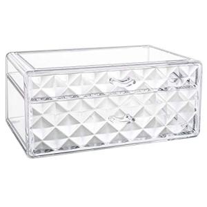 Luxspire Acrylic Makeup Organizer, 2 Drawers Cosmetic Storage Organizer, Clear Diamond Cosmetic Display Case, Jewelry Storage Box Make up Holder - Clear