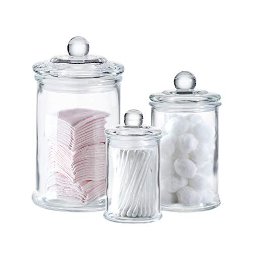 Mini Glass Apothecary Jars-Cotton Jar-Bathroom Storage Organizer Canisters Set of 3