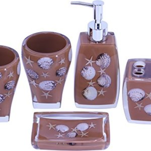 ChabaLine 5-Piece Brown Sea Bathroom Accessories Sets Complete Bath Ensemble of 2 Tumblers, Soap/Lotion Dispenser Pump Bottle, Toothbrush Holder, and Soap Dish