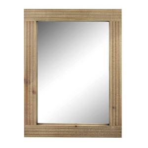 Stonebriar Rectangle Natural Wood Hanging Wall Mirror, Medium, Brown