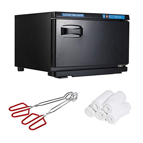 """Houseables Hot Towel Warmer, UV Sterilizer, 11"""" x 17"""", 1 Cabbie, 2 Pairs of Tongs, 5 Towels, Black, White, Red, Metal, Cotton, Steamer, Disinfection Light, For Spa, Salon, Barber, Facial, Massage"""