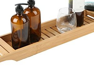 Mind Reader Bathroom Shower Organizer for Shampoo, Soap, Razors, and Much More Bamboo Bathtub Tray, Brown Bath Caddy
