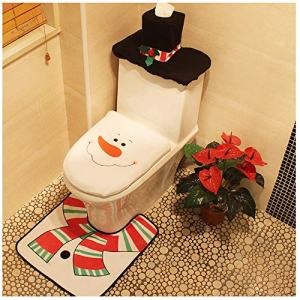 Christmas Toilet Seat Cover and Rug Set Tank Lid Covers Tissue Box Cover Xmas Decorations Funny Bathroom Santa Claus Snowman Elf Festival Decor for Home Hotel Holiday Party Supplies Pack of 3 Snowman