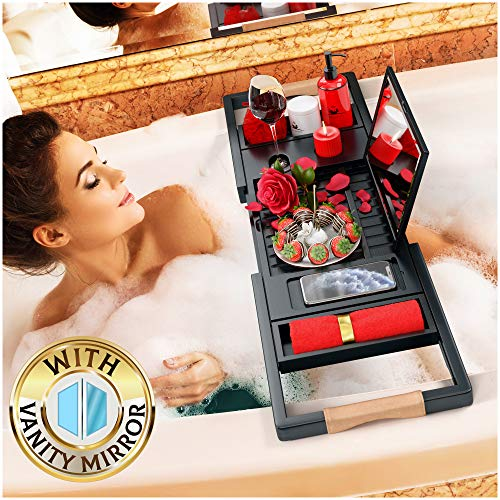 Your Majesty Premium Black Bamboo Bathtub Tray Caddy [with Mirror] 1-2 Adults Expandable Bath Tray, Beautiful Gift Box, Fits Any Tub - Holds Book, Wine, Phone, Ipad, Laptop - Free Bathroom Door Hanger