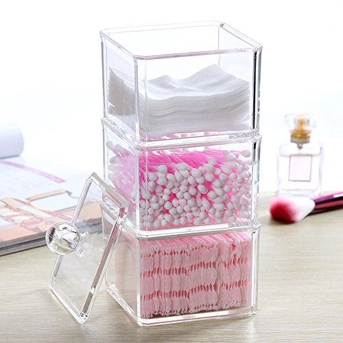 Dustproof Clear Acrylic Cotton Ball & Swab Holder, Cosmetic Organizer Makeup Storage Organizer For Cotton Swabs, Q-Tips, Make Up Pads, Cosmetics, Jewelry & More - For Bathroom & Vanity By FLYMEI