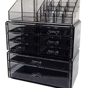 Sodynee Acrylic Makeup Cosmetic Organizer Storage Drawers Display Boxes Case, Three Pieces Set