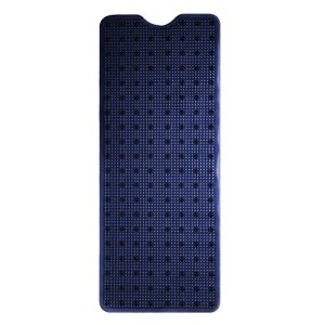 E-view Bath Mat for Tub - Non-Slip Extra Long Shower Mats - Machine Washable Bathtub Mats with Drain Holes and Suction Cups Dark Blue