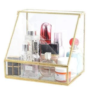 InnSweet Glass Makeup Organizer, Large Cosmetic Display Cases with Slanted Front Open Lid, Trapezoid Cosmetic and Jewelry Display Box