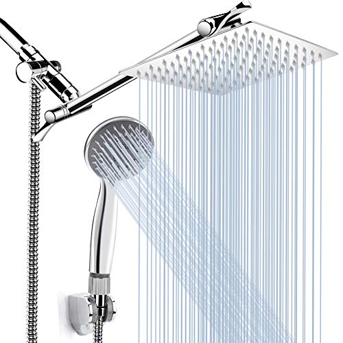 8'' High Pressure Rainfall Shower Head/Handheld Shower Combo with 11'' Extension Arm, Height/Angle Adjustable, Stainless Steel Bath Shower Head with Holder, 1.5M Hose, Chrome, 4 Hooks
