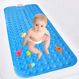 MATELOTI Bath Tub Mat, Anti Slip Bath Mat with Suction Cups for Bathroom Tub (Blue)