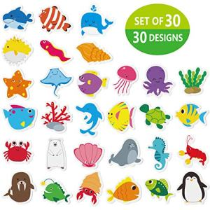 "Hebayy 30 Adorable Non-Slip Sea Animal Bathtub Shower Deco Water-Resistance Stickers in 30 Designs (Each Measures About 3"" X 3"")"