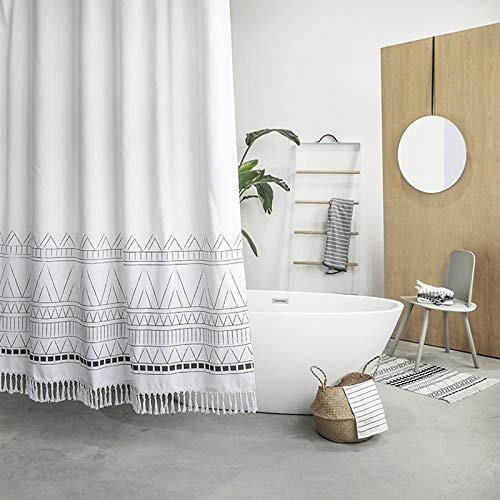YoKii Tassel Fabric Shower Curtain, Black Grey White Boho Striped Chevron Polyester Bath Curtain Set with Hooks, Decorative Spa Hotel Heavy Weighted 72-Inch Bathroom Curtains, (72 x 72, Nordic Chic)