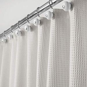 """mDesign Hotel Quality Polyester/Cotton Blend Fabric Shower Curtain with Waffle Weave and Rust-Proof Metal Grommets for Bathroom Showers and Bathtubs - 72"""" x 72"""" - Cloud Gray"""