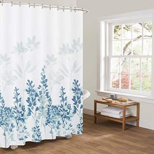 Nobranded Fabric Shower Curtain 72x72 Inch Heavy Weighted Flowers Shower Curtain Liner Waterproof Polyester Stall Curtains with 12 Hooks for Bathroom Showers, Bathtubs (Leaves)