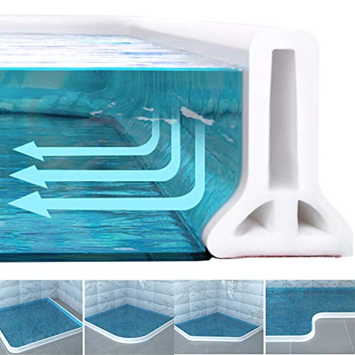 New Collapsible Threshold Water Dam -Bathroom Water Stopper Flood Shower Barrier Dry And Wet Separation Collapsible Shower Threshold(5 foot)
