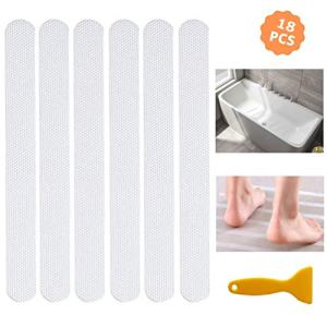 Socub Non Slip Shower Strips, Appliques for Bathtub, Map, Pool, Stair, 0.8 Inch x 8 Inch, 18 Pcs, Clear