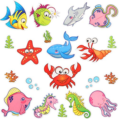 Pack of 19 Non Slip Sea Creature Bathtub Stickers,Adhesive Tub Decals with Bright Colors,Ideal Large Appliques for Your Family's Safety,Suit for Bath Tub,Stairs,Shower Room & Other Slippery Surfaces.