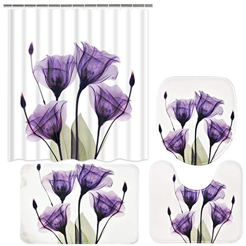 Ikfashoni 4 Pcs Tulip Flower Shower Curtain Set with Non-Slip Rug, Toilet Lid Cover and Bath Mat, Purple Floral Shower Curtain with 12 Hooks, X-Ray Floral Shower Curtains for Bathroom