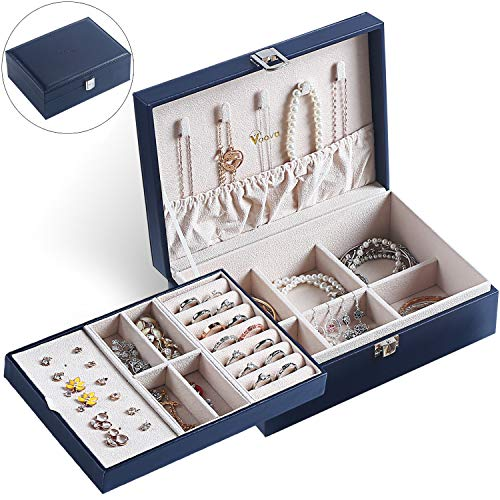 Voova Jewelry Box Organizer for Women Girls, 2 Layer Large Display Storage Case PU Leather Travel Jewel Holder Cabinet with Removable Tray&Partition for Necklace, Earrings, Bracelets, Rings, Navy Blue
