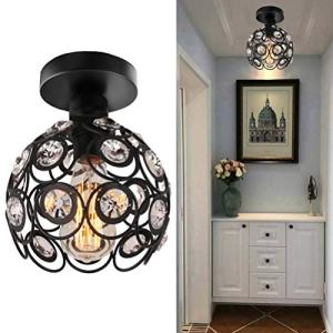 Semi Flush Mount Ceiling Light Fixture, Antique Black Metal Crystal Chandelier Lamp, Indoor Lighting for Bathroom Fixture Foyer Ceiling Fixture Hallway Lighting Fixture