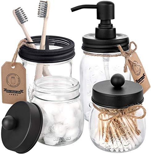 AOZITA Mason Jar Bathroom Accessories Set 4 Pcs - Mason Jar Soap Dispenser & 2 Apothecary Jars & Toothbrush Holder - Rustic Farmhouse Decor, Bathroom Home Decor, Countertop Vanity Organize - Black