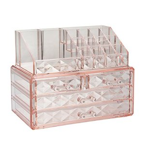 Jewelry and Cosmetic Boxes with Brush Holder - Pink Diamond Pattern Storage Display Cube Including 4 Drawers and 2 Pieces Set