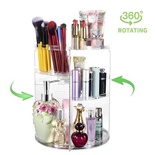 360° Rotating Makeup Organizer, Spinning Bathroom Organizer Countertop, Carousel Vanity Organizer, Cosmetic Organizer Makeup Holder Shelf, Make Up Organizers and Storage for Bedroom, Transparent