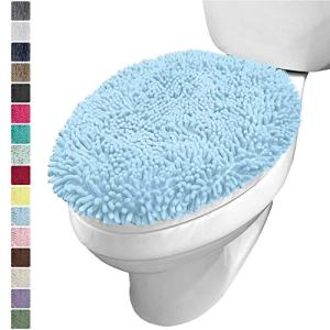 KANGAROO Plush Luxury Chenille Bath Room Toilet Lid Cover, 19.5 Inch x 18.5 Inch Large Size, Extra Soft and Absorbent Kids Shaggy Seat Covers, Washable, Fits Most Bathroom Toilet Lids, Light Blue