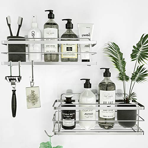 KINCMAX Shower Caddy Basket Shelf with Hooks for Hanging Sponge, No Drilling Adhesive Wall Mounted Bathroom Storage Shampoo Holder Organizer, Kitchen Shelf Rack, Rustproof 304 Stainless Steel - 2 Pack