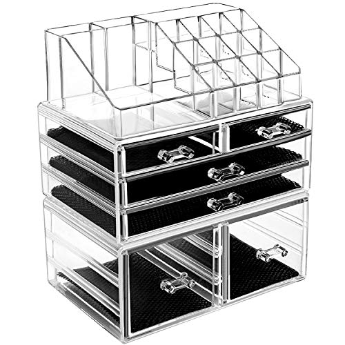 HBlife Makeup Organizer 3 Pieces Acrylic Cosmetic Storage Drawers and Jewelry Display Box