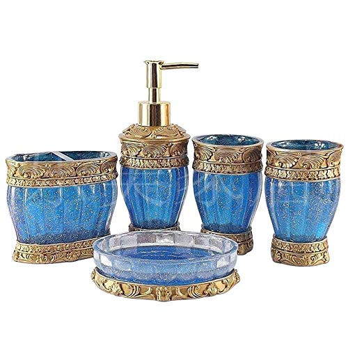 Vintage Blue Bathroom Accessories, 5Piece Bathroom Accessories Set, Bathroom Set Features, Soap Dispenser, Toothbrush Holder, Tumbler & Soap Dish - Golden Glossy - Bath Gift Set