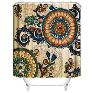 KYFY Vintage Floral Shower Curtain Mandala Bohemian Colorful Flowers Shower Curtain Set Summer Hippie Bathroom Curtain Europe Shower Curtain for Women with Hooks