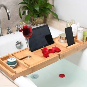 Fancylovesotio Bamboo Bathtub Tray Adjustable Organizer Bathroom Tub Tray with Cellphone and Wine Holder for Luxury Bath or Reading(Universal Shelf)