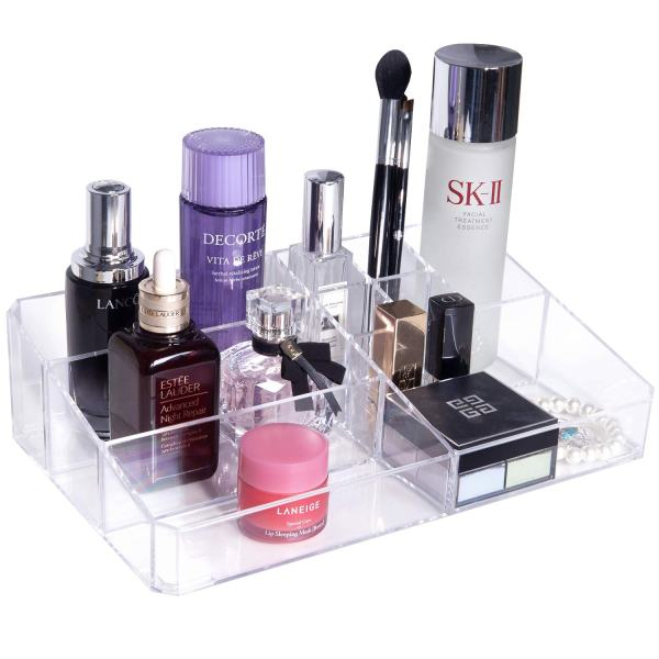 Gospire Clear Makeup Organizer Vanity Tray, 9 Spaces Cosmetic Storage Display Case Storage Box for Lipstick, Makeup Palette, Makeup Brush and Skin Care Products