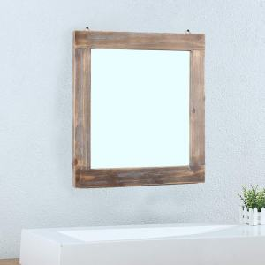 "Womio Rustic Bathroom Mirrors for Wall,23.6"" x 23.6"" Wood Frame Hanging Decorative Wall Mirror Vanity Mirror Makeup Mirror"
