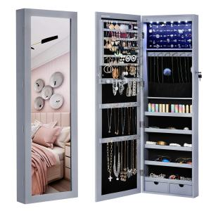"""SONGMICS 6 LEDs Jewelry Cabinet Lockable 47.3"""" H Wall/Door Mounted Jewelry Armoire Organizer with Mirror, 2 Drawers, Gray UJJC93GY"""