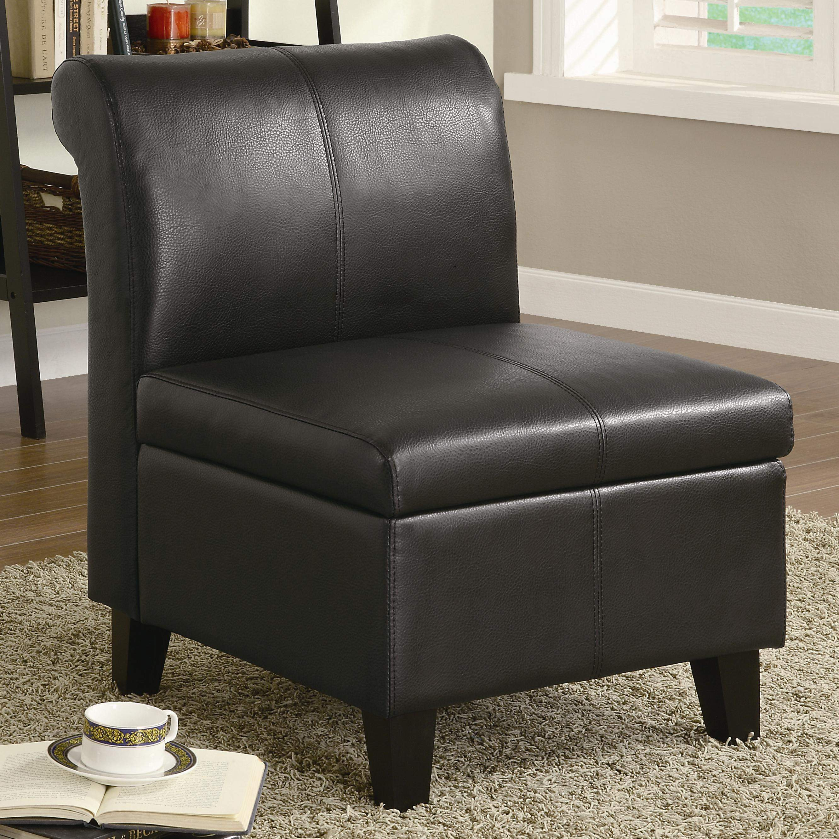 Stationary Chair Accent Seating Armless Stationary Chair With Wood Feet