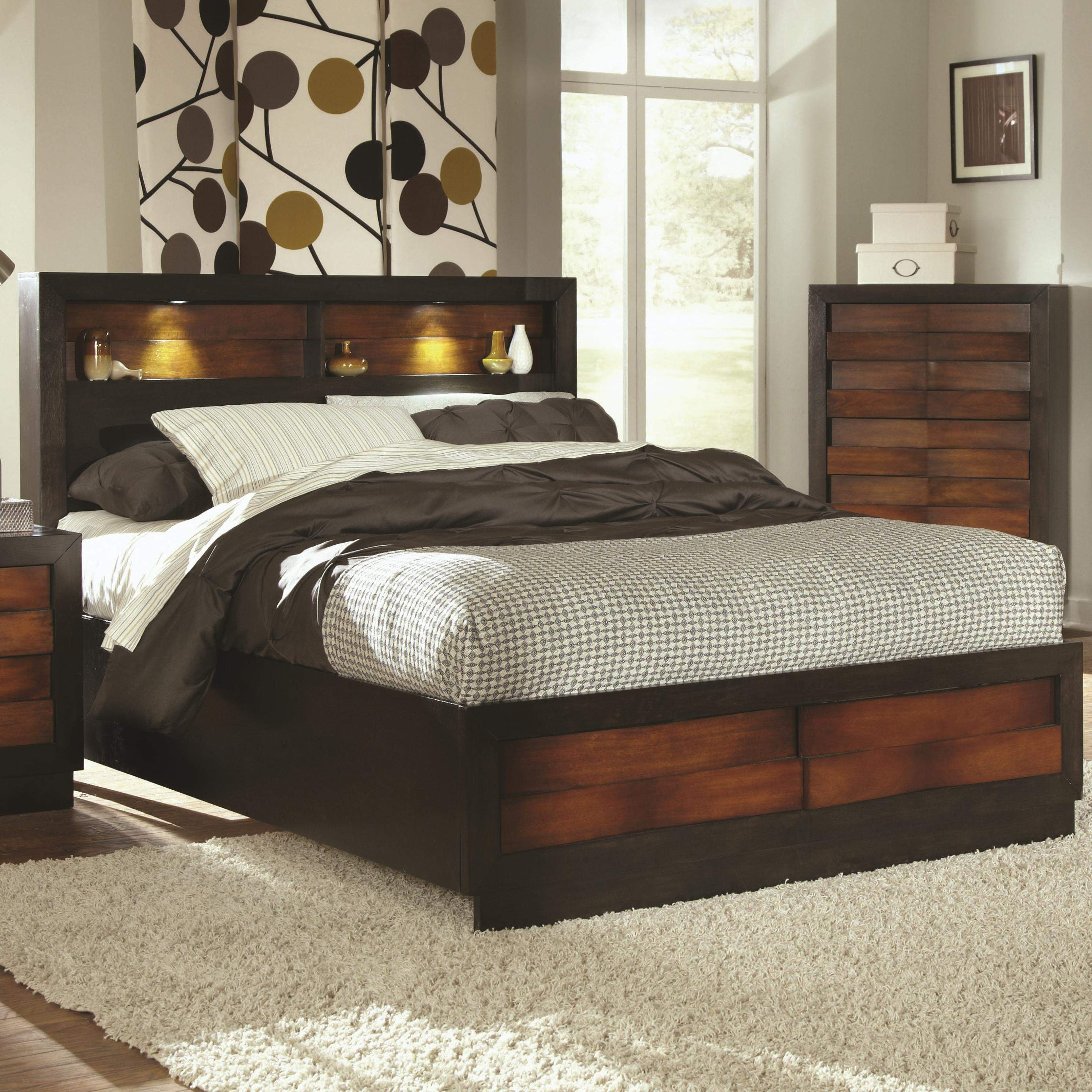 rolwing queen bed with headboard storage