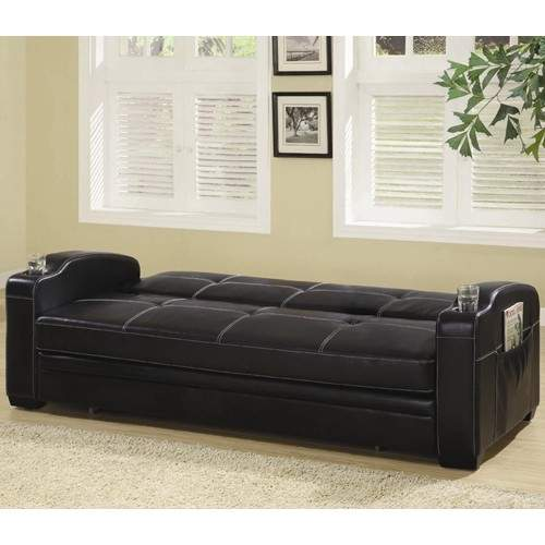 Sofa Beds Faux Leather Sofa Bed With Storage And Cup