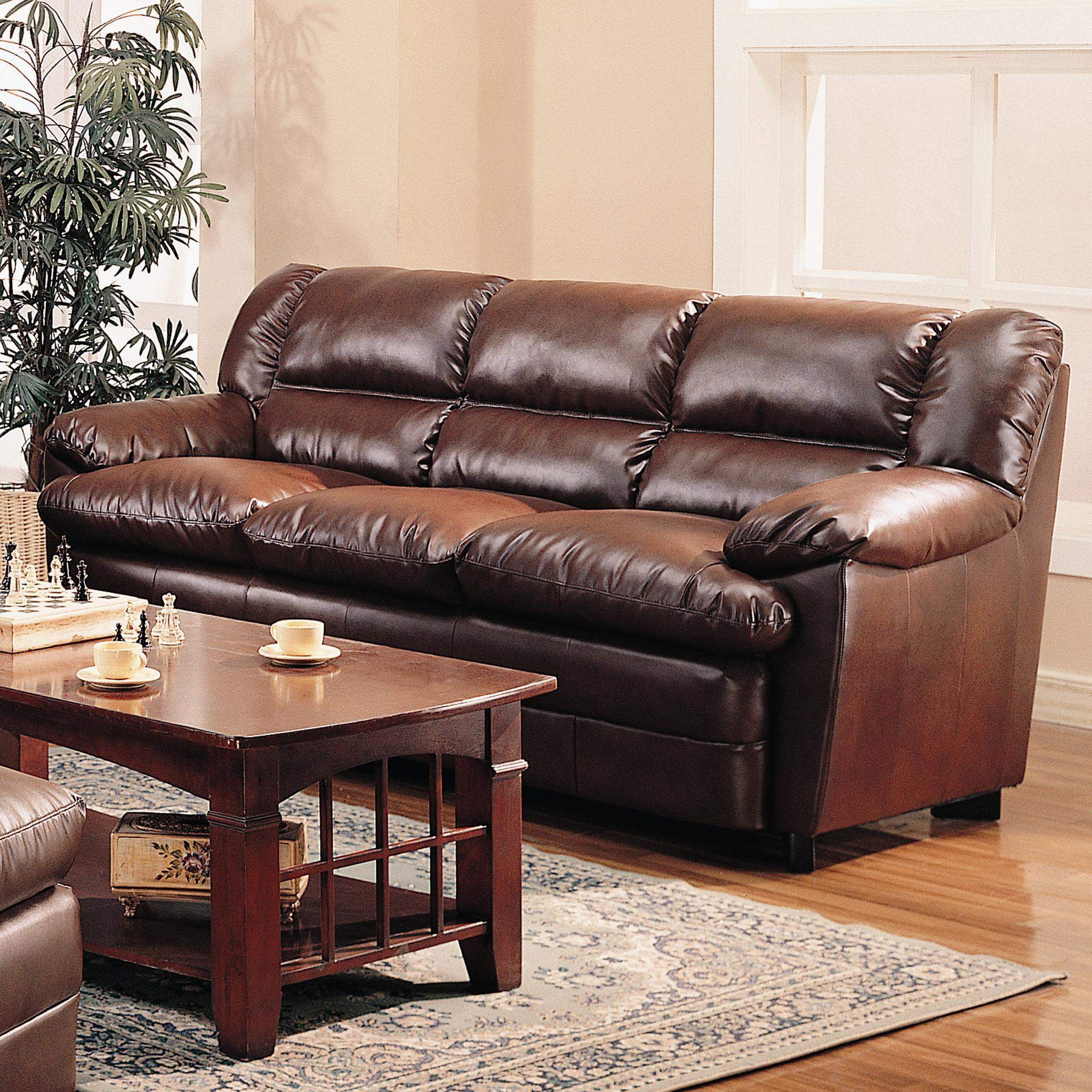 Overstuffed Leather Chair
