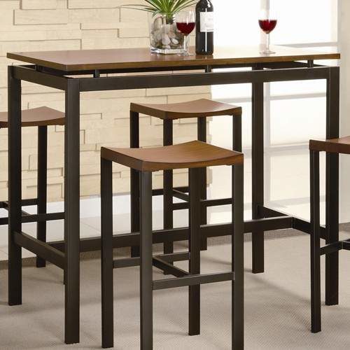 Atlus Counter Height Contemporary Black Metal Table With Warm Oak Top And 4 Stools Quality
