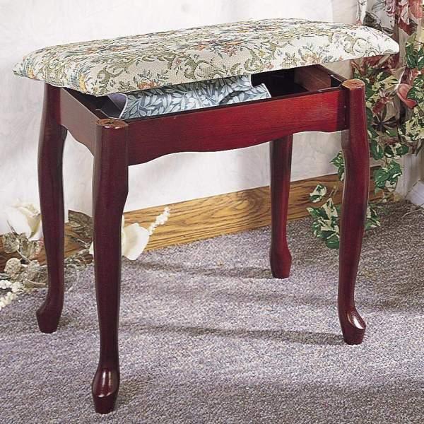 Foot Stools Cherry Finish Upholstered Vanity Stool Bench