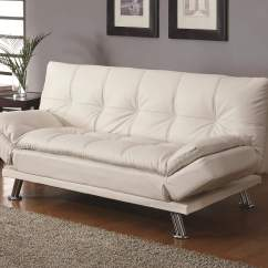 Contemporary Sofa Bed Gray Faux Leather Reclining Beds Styled Futon Sleeper With