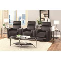 Clearance Sofa Sectionals Recliner Leather Black Toohey Contemporary 5 Piece Reclining Home Theater Seating ...