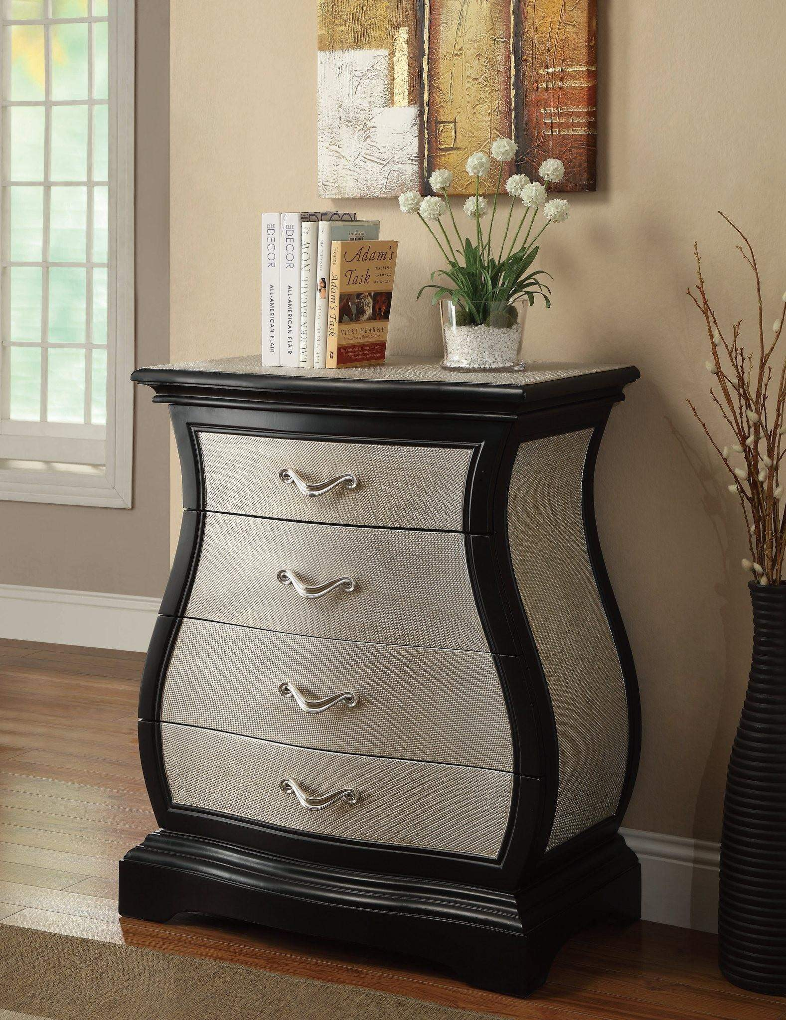 Accent Cabinets Curvy Cabinet with 4 Drawers  Quality
